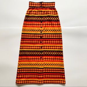 Act III Vintage 70's Trippy Buttoned Maxi Skirt